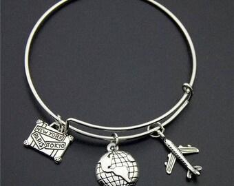 Silver Wanderlust Bangle Version (5) *Free Shipping* Travel Jewellery, Travel Gift, Wanderlust Jewellery, Adventure Bracelet