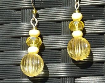 """yellow crystal ball"" Silver earrings jewelry"