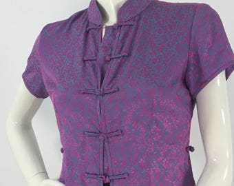 Vintage cheongsam top/vibrant colored vintage chinese traditional top