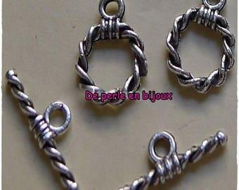 5 pcs - toogle clasp 12mm x 10mm silver-plated bar 15mm x 5 mm
