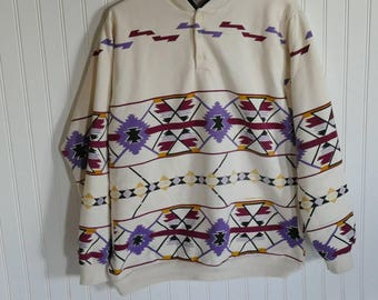 Vintage 1990s Aztec Pull Over Sweatshirt (no hood) with Buttons. Native Geometric Designs with Purple, Yellow, Black Size Large