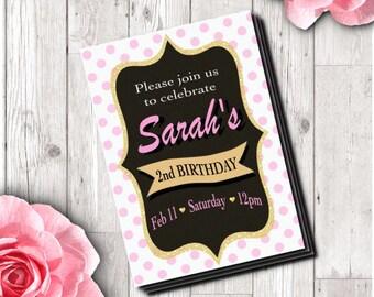 Birthday girl invitation DIGITAL or PHYSICAL - digital or physical pink polka dot birthday girl invitation