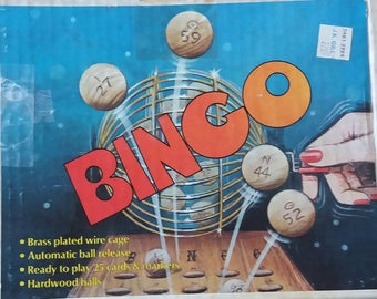 Vintage 1977 Pacific Game Company BINGO game with Brass Plated Cage Wooden Balls Score Cards Master Board