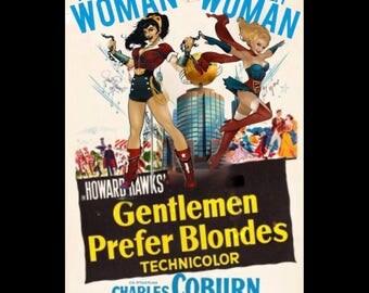 """Wonder Woman/Supergirl """"gentlemen prefer blondes"""" T-Sgirt"""