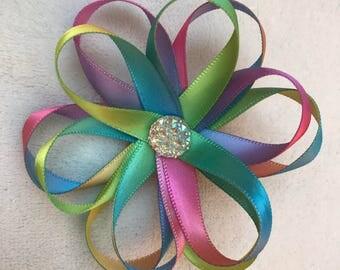 Rainbow Flower Bow