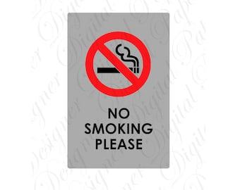 No Smoking Please SVG and Studio 3 Cut File Cutouts Files Design Logo for Silhouette Studio & Cricut SVGS Decals Download Digital Logos