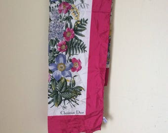 Rare! Vintage Christian Dior silk scarf Flower