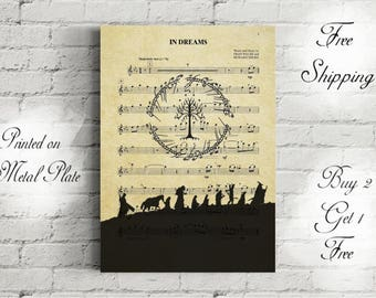 The Lord of the Rings Sheet Music Art Metal Print-Fellowship of the Ring Poster-Room Decor-Hobbit Poster-Lotr Gift-Lotr Decor-Lotr Art