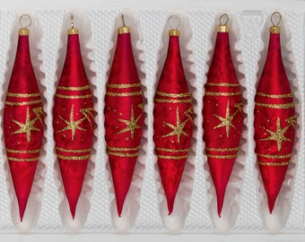 "Navidacio 6 pcs. Glass Ice Drops in ""Ice Red Gold"" Comet New"