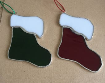 One Stained glass Santa boot Christmas decoration