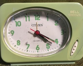 Vintage 1950s Citizen Lime Green Alarm Clock