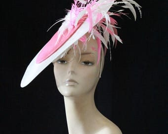 Pink and White Wide Brimmed Fascinator