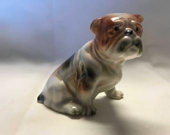 Porcelain Bull Dog Figurine. Fantastic Detail, Black and Brown Markings.