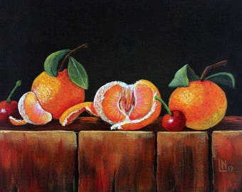 Tangerines with Cherries 9x12 Acrylic Painting