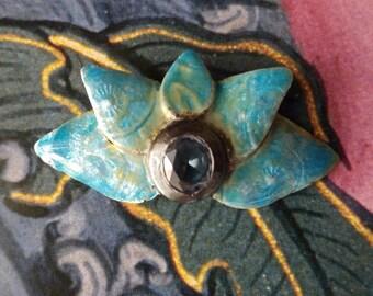 Enamelled sterling silver lotus flower pendant (or hair accessory) - pendentif (ou barrette) fleur de lotus en argent sterling émaillé