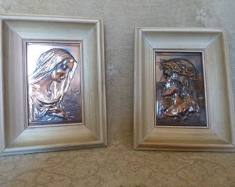 Vintage engraved copper pictures of Mother Mary and Jesus in crown of thorns. Numbered, 1957