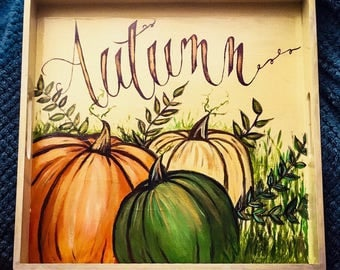 Hand Painted Autumn Serving Tray