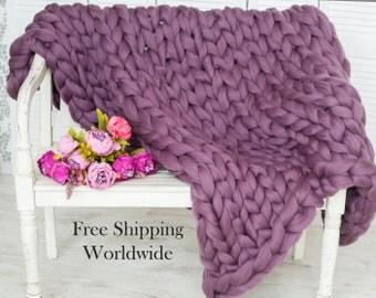 Chunky Knit Blanket SALE! Giant Knit Blanket, Throw Blanket, Chunky Blanket, Large Knit Blanket, Merino Wool Blanket, Chunky Knit Throw