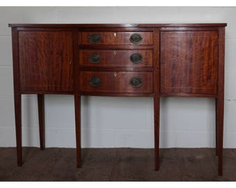 A Good Quality Georgian Style Serpentine Mahogany Sideboard