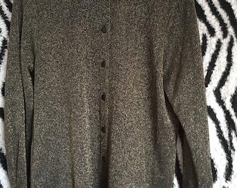 Vintage 70s 80s Metallic Gold Black Lurex Glam Disco Psych Oversized Long Line Blouse Shirt Mini Dress