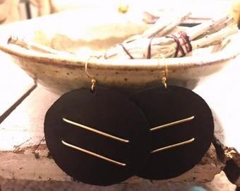 Round Leather Earrings, Black Leather Earrings, Bohemian Earrings, Large Round Earrings, Geometrical Earrings