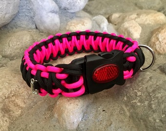 Personalized paracord dog collar with reflective buckle
