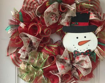 Christmas wreath for front door, Snowman wreath, burlap wreath, Christmas snow man wreath, Christmas decor