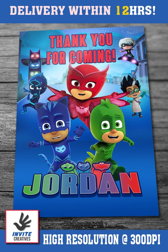 PJ Masks Invitations With FREE Thank You Card PJ Masks Birthday - Pj masks invitation template free