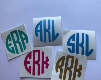 Circle monogram decal, decal for car, tumbler decal, laptop decal, cell phone decal, clipboard decal, water bottle decal, yeti decal