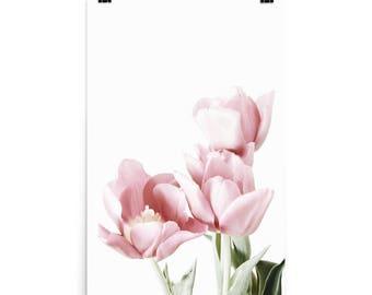 Pink Tulips Poster, Printed Art, Flower Art Print, Pink Flower Wall Art,