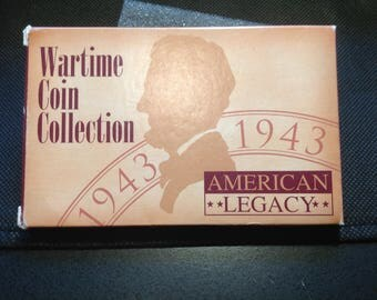 Wartime Coin Collection. (5) 1943 Steel Cents.