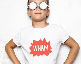 hero tshirt, hero tee, wham comic tee, hero kids gift, hero childs gift, hero themed tee, hero bday gift, kids hero tee