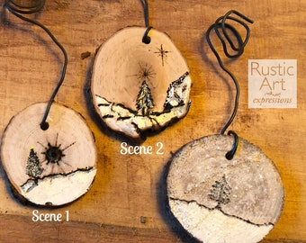 SMALL Artisan Wood-Burned Ornament | Reclaimed Wood Christmas Ornament | Hostess Gift