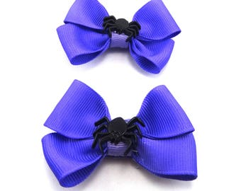 Purple and Black Spider Halloween Pig Tail Bows, Spider Tulle Bow, Halloween Bow, Girl's Hair Bow, Spider Hair Bow, Halloween Hair Bow