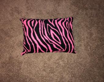 Hot pink zebra print pillow
