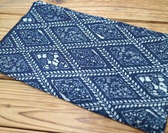 Japanese vintage indigo KATAZOME fabric 164x34cm <Free shipping> Stencil dyed Cotton Antique Boro