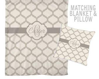 Monogram Blanket Pillow Set, Custom Family Name Throw Pillow- Personalized Wedding Gift, Family Monogram Initials, Wedding Shower Gift
