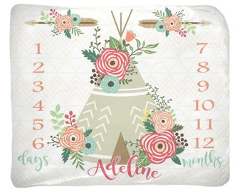 Baby Girl Milestone Blanket, Tee Pee Floral Newborn Photography Backdrop, Month Growth Chart Quilt, Personalized Tribal Girl Shower Gift