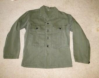 Vintage Jacket WWII us army  US Militaria HBT Herringbone 13 Star Buttons Sz38