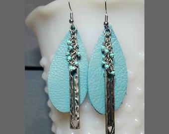 Blue Leather Earrings Lightweight Earrings Hypoallergenic Earrings Mother's Day Gift Boho Festival Jewelry Gift For Her Hippie Earrings