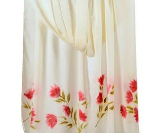 Hand-painted soft silk crepe scarf.