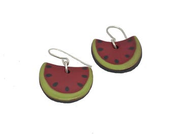Watermelon-shaped earrings very original and cheerful