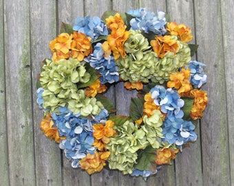 Ready to Ship Fall Silk Floral Wreath from our Harvest Collection with soft Gold and Blue Hydrangeas
