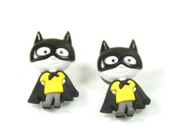 Superhero earrings, Superhero studs, batman earrings, Batman studds