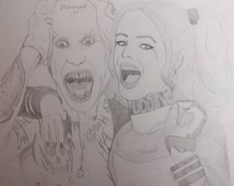 The Joker and Harley Quinn Pencil Drawing