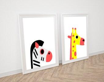 Animal Set Nursery Print Zebra Giraffe wall art Digital Download Animal Nursery Wall Art Kids Art Nursery Print Nursery Safari Kids Print