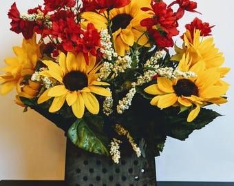 Sunflower Arrangement, Farmhouse Decor, Country Decor, Rustic Decor, Galvanized Grater