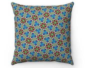 Danchongflower Pattern Pillow  Faux Suede Square Pillow