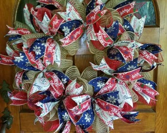 Red white and blue Christmas burlap deco mesh wreath