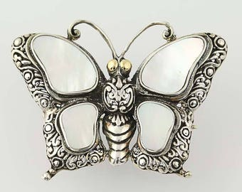OBO - Mother of Pearl Butterfly Convertible Brooch / Pendant - Sterling Silver